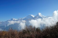 Annapurna Mountain View. From Poon Hill view point royalty free stock images