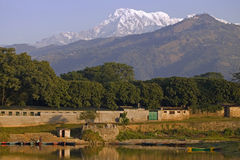 annapurna mt南的尼泊尔 库存照片