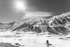 Annapurna Nepal - November 13, 2015: Turisten tar bilder av Himalaya berg nära Tilicho sjön, den Annapurna cirkeln, Nepal fotografering för bildbyråer