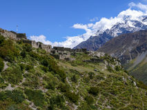 Annapurna and old village Upper Khangsar, Nepal stock photo