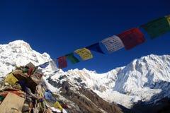 Annapurna one nepal. Annapurna base camp prey flags nepal Stock Image
