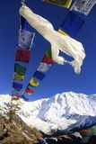 Annapurna one nepal. Annapurna base camp prey flags nepal Royalty Free Stock Image