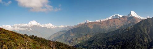 Annapurna Panorama, Nepal. View of the Poon Hill with mount Machhapuchhre and mount Dhaulagiri in the background, Nepal stock photo