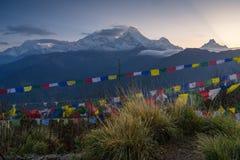 Annapurna pasmo od Poon wzgórza widoku punktu w ranku wschodzie słońca, Obraz Royalty Free