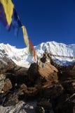 Annapurna 1 peak on a beautiful bluebird day. Annapurna base camp prey flags nepal Royalty Free Stock Images