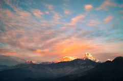 Annapurna 3. The peak of the Annapurna 3 mountain in the morning. On the snow looks the sunrise golden royalty free stock image