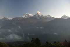 Annapurna peak in sunrise. Himalaya, Nepal. Stock Images