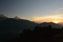 Annapurna peak in sunrise. Himalaya, Nepal. View from Poon Hill. Stock Image