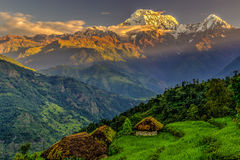 Annapurna południe wschód słońca Fotografia Royalty Free