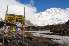 Annapurna podstawowego obozu znak Fotografia Royalty Free