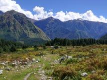 Annapurna range in the clouds from Kalapani. Annapurna circuit, Kali Gandaki river valley, Nepal royalty free stock image