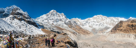 Annapurna Range, Himalayas of Nepal. Panorama of Annapurna range from ABC (Annapurna Base Camp), Nepal Royalty Free Stock Photos