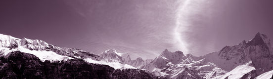Annapurna Range and Machhapuchre Royalty Free Stock Images
