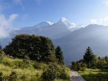 Annapurna range from Poon Hill, Nepal. Annapurna range from Poon Hill on the morning - one of the most visited Himalayan view points in Nepal, view to snow royalty free stock images