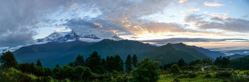 Annapurna range from Poon Hill, Nepal. Poon Hill - one of the most visited view points in Nepal stock image