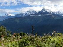 Annapurna range from Poon Hill, Nepal. Poon Hill - one of the most visited view points in Nepal stock photos