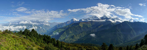 Annapurna range from Poon Hill, Nepal. Poon Hill - one of the most visited view points in Nepal stock photo