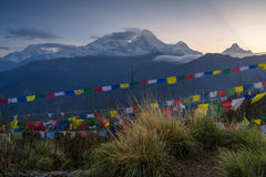 Annapurna range from Poon hill view point in a morning sunrise, royalty free stock image