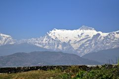 Annapurna Range with Snow. Partial view of the Annapurna range covered with snow Royalty Free Stock Images