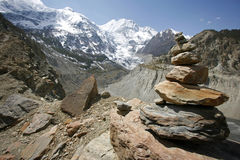 Annapurna range and stone Stock Photography