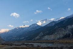 Annapurna range in the sunset in Manang valley, Nepal Royalty Free Stock Photo