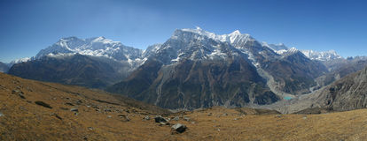 Annapurna ridge pano. Nepal, view from Ice Lake side Royalty Free Stock Image