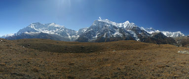 Annapurna ridge pano. View from Ice Lake Royalty Free Stock Photography