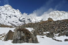 The annapurna sanctuary at the base camp Stock Image