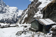 The annapurna sanctuary at the base camp Stock Photos