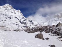 Annapurna South and base camp - Nepal royalty free stock images