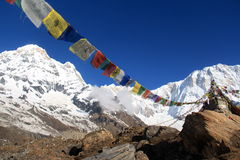 Annapurna 1 and south  on a beautiful bluebird day. Annapurna base camp prey flags nepal Stock Photography