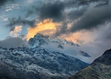 Annapurna. South cover with clouds, Himalaya, Nepal stock photography
