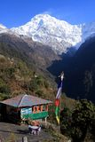 Annapurna South, The Himalayas, Nepal. Colourful Prayer Flags fly over the guest houses in the Himalayan village of Chhomrong. Annapurna Base Camp Trek, Nepal royalty free stock photos