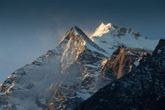 Annapurna South peack in the Nepal Himalaya. View from Annapurna Base Camp royalty free stock photo