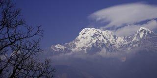 Annapurna South Peak and Hiunchuli. Annapurna base camp trek, Nepal Stock Image