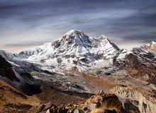 Annapurna South peak in Nepal Himalaya. Panorama of Mount Annapurna South Moditse - view from Annapurna base camp in Nepal Himalaya stock images