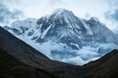 Annapurna south. Peak in Nepal with selective focus royalty free stock photography