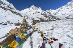 Annapurna south. With prayer flag, Nepal Royalty Free Stock Photography