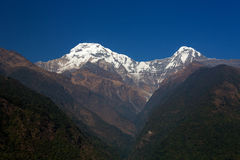 Annapurna South, view in a full day - Himalaya Mountains, Nepal Royalty Free Stock Photos