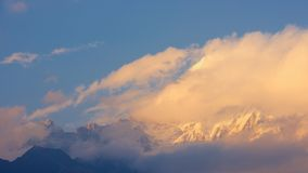 Annapurna summit at sunset stock photography