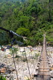 Annapurna trek bridge. Annapurna Bridge swinging away in the clear day Royalty Free Stock Image