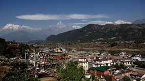 Annapurna und Tashi Palkhel stockbild