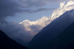 Annapurna View, Clouds closing in Stock Image
