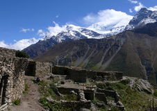 Annapurna. View to Annapurna II from Nepal village Stock Photography