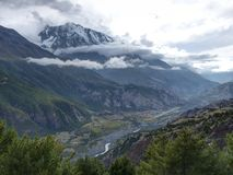 Annapurna 3. View to snow capped hill of Annapurna 3 from Ngawal, Annapurna Circuit Trek in Nepal stock photos