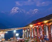 Annapurna and Village. Village at night, Nepal, Annapurna Trail Stock Photo