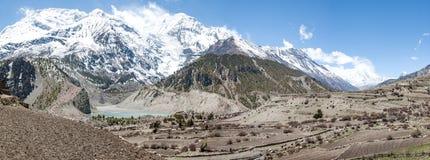 Annapurna zet in Manang, Nepal op Royalty-vrije Stock Foto
