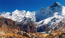 annapurnabasläger nepal Arkivfoto