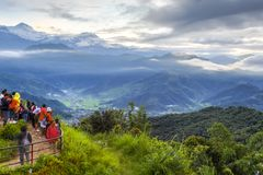 Annapurnamassief en Pokhara-vallei, Nepal Stock Foto