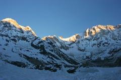 Annapurnas am Sonnenuntergang, Himalaja-Berge, Nepal Stockbilder